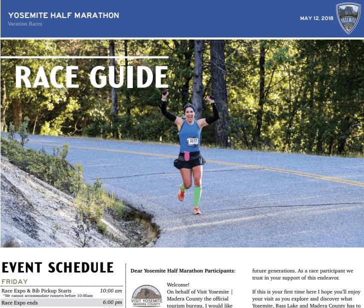 2018 Yosemite Half Marathon Race Guide Now Available 187 Vacation Races