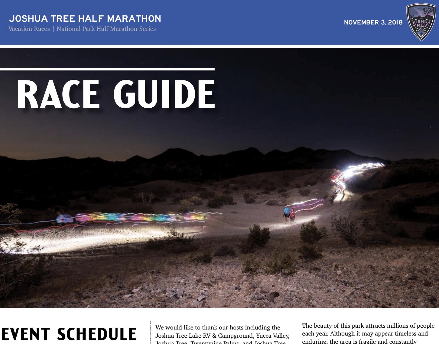 2018 Joshua Tree Half Marathon Race Guide Now Available 187 Vacation Races