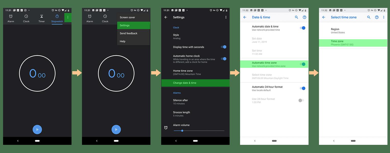Android time zone instructions Arizona