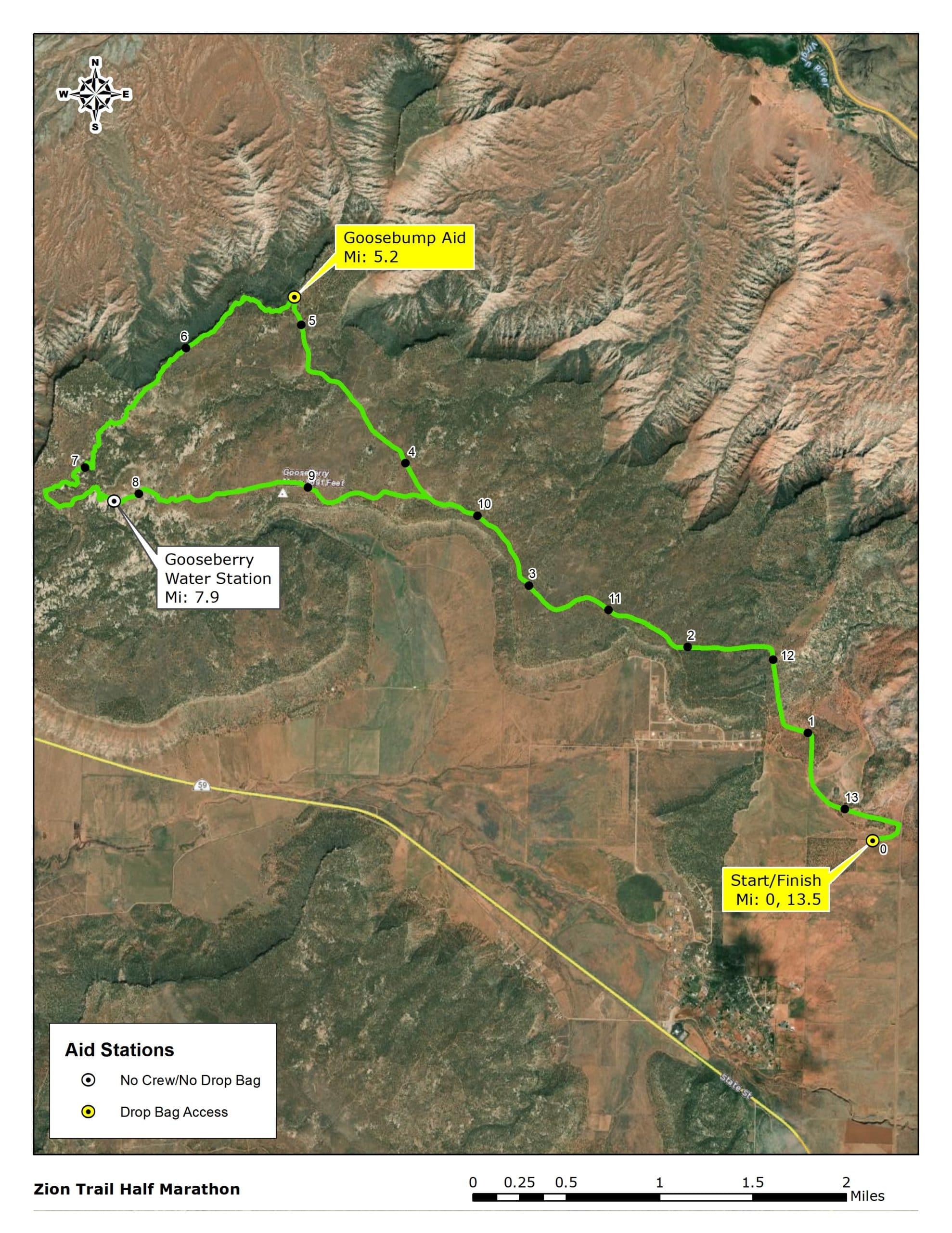 Course map of the Zion Ultras trail half marathon